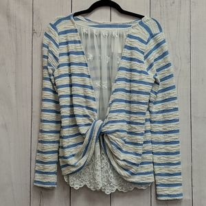 Anthropologie Blue & White Lace Blouse Size Large
